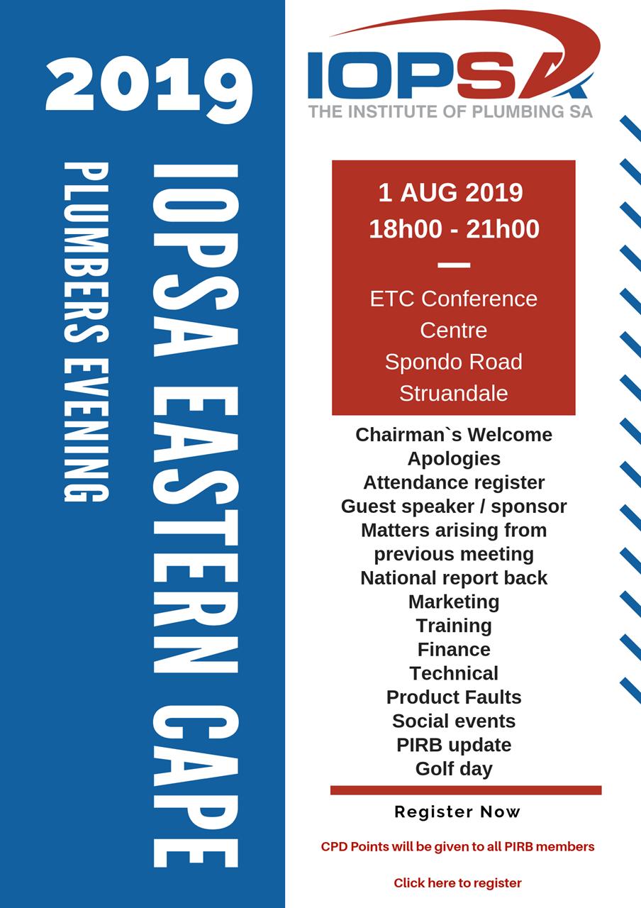 IOPSA - IOPSA EC Plumbers Evening 1 August 2019